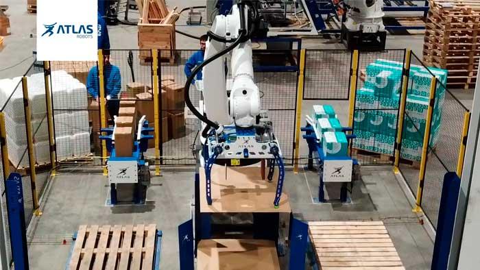 robot paletizador de cajas de distintos tamaños y bidones – Futureco Bioscience