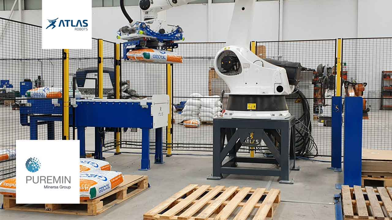 robot paletizador de sacos de arcilla de 25Kg