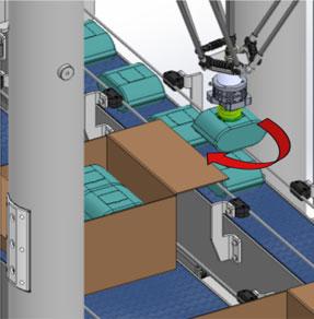 robot envasado alta velocidad deja producto en caja