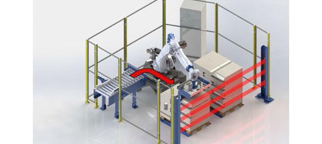 Proceso de robot paletizando sacos