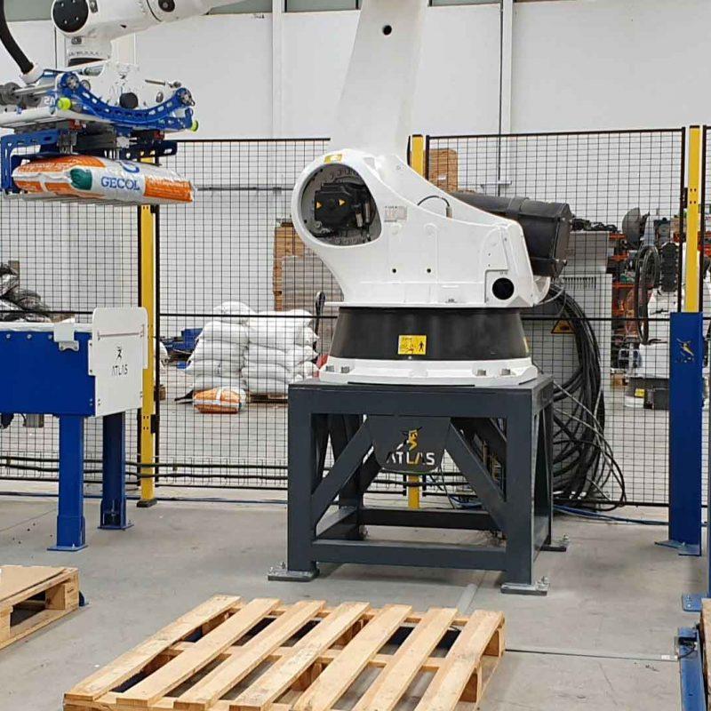 robot industrial paletizador de sacos de arcilla de 25 kg