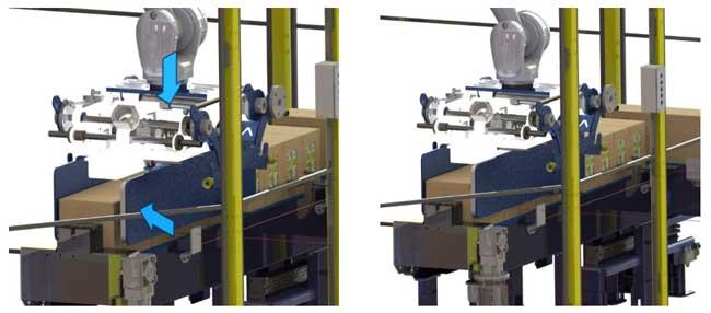 Detalle de cómo el robot captura las cajas para su paletizado