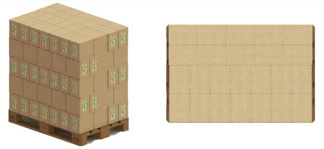 Paletizado de cajas robotizado sobre palet europal
