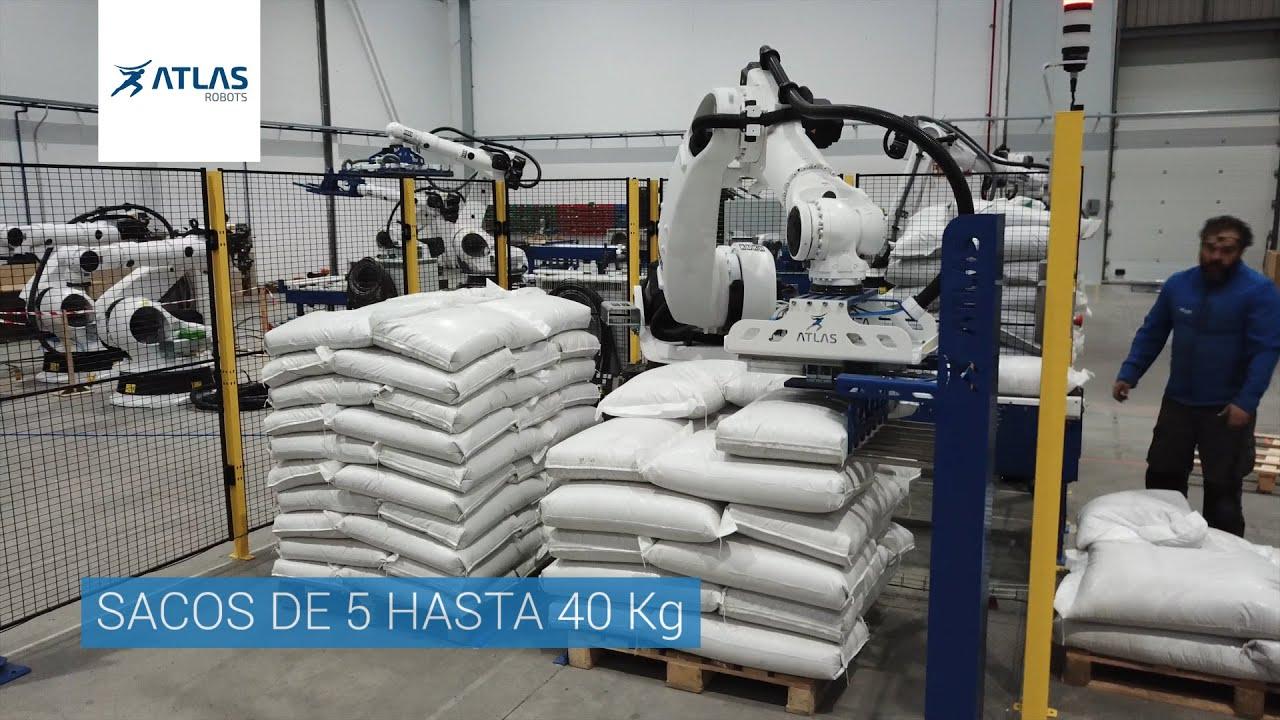 Robô paletizador sacos legumes