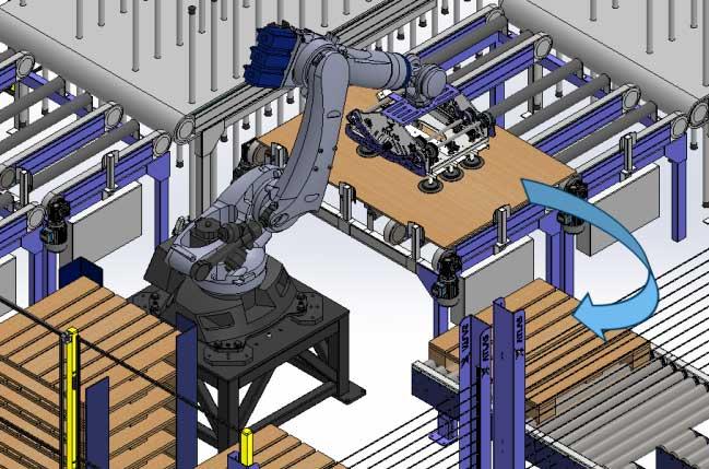 El robot captura plancha de madera para paletizar