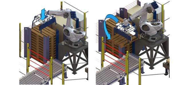 Robot captura palet vacío para paletizar