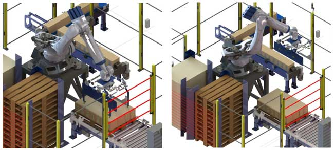 Robot deposita spacer sobre cajas paletizadas