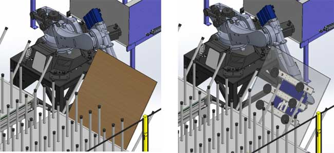 El robot deja el tablero de madera en un ángulo determinado