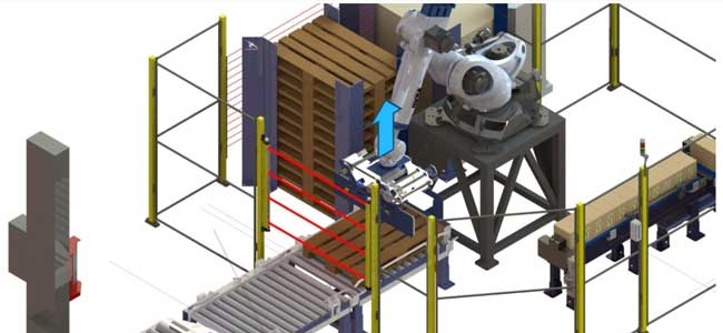 Robot deposita palet sobre rodillos para comenzar paletizado