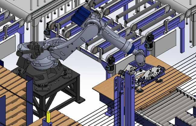 Robot paletiza planchas de madera sobre palet mecanizado